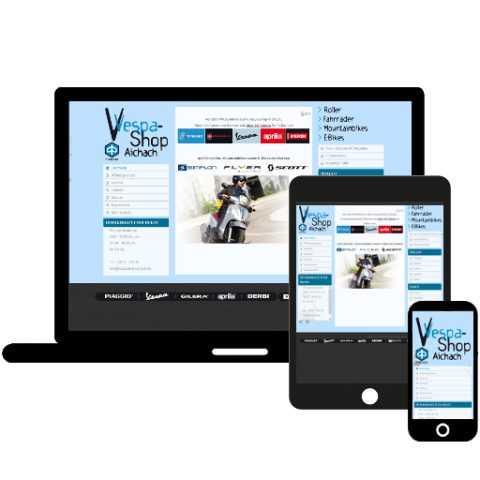 VespaShop Aichach; Referenz LIWETEC GmbH; Administration, Programmierung, Gestaltung, Responsive Design