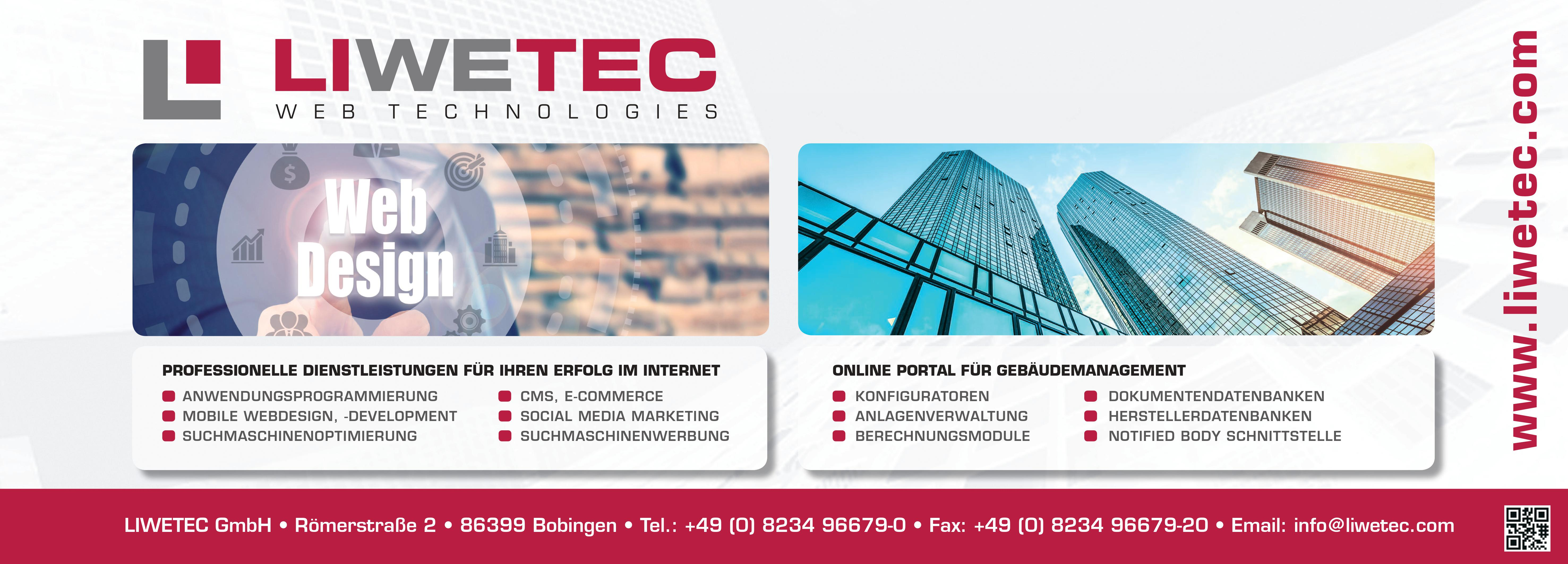 ad banner of LIWETEC GmbH with its services in webdesign and the elevatorportal