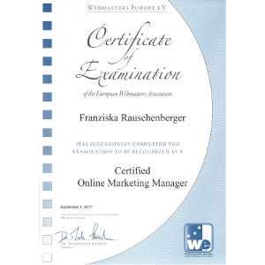 Zertifikat Online Marketing Manager Rauschenberger Franziska